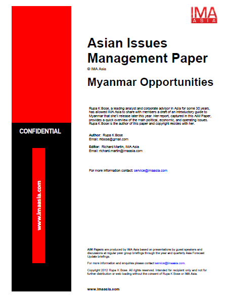 Cover of IMA Asia report: Myanmar Opportunities by Rupa Bose