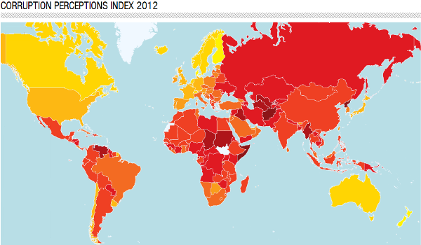 corruption perceptions map 2012