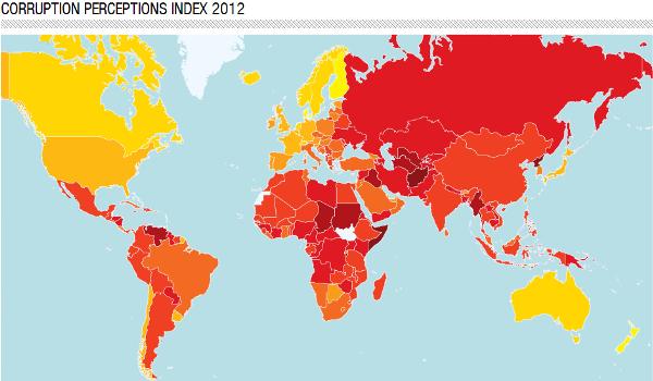 corruption perceptions map 2012